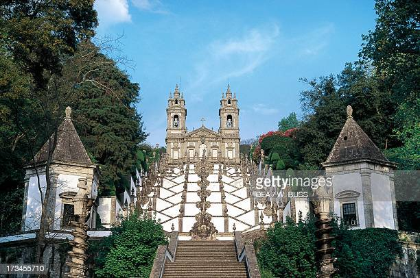 Baroque staircase in the Bom Jesus do Monte sanctuary designed by Cruz Amarante Mount Espinho near Braga Portugal