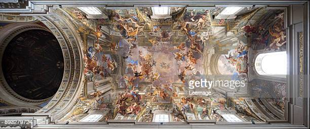 Baroque trompe l'œil ceiling fresco The Triumph of St Ignatius Loyola Entrance into Paradise Apotheosis of St Ignatius the Glorification of St...