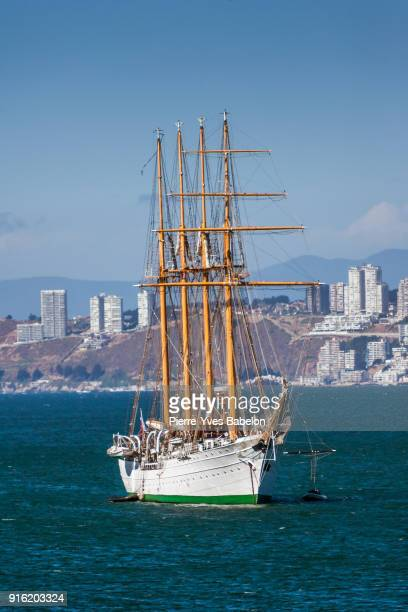 barquentine of the chilean navy - pierre yves babelon stock pictures, royalty-free photos & images