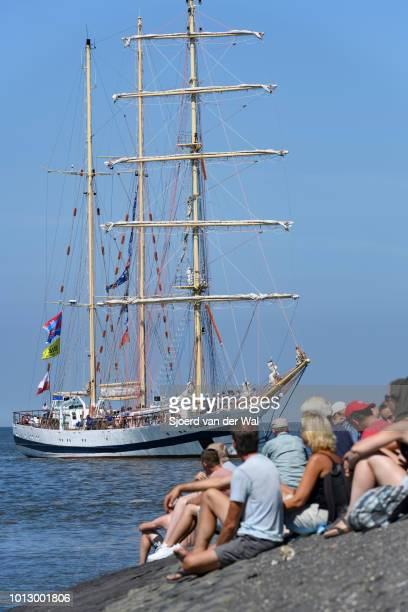 Barquentine Pogoria from Poland entering the port of Harlingen during the finish of the 2018 Tall Ship Race on August 3, 2018 in Harlingen,...
