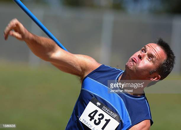 Barr Gilmore of Toronto USA takes his second throw in the Men's Javelin during the 2002 Sydney Gay Games at the Homebush Athletics Centre in Sydney...