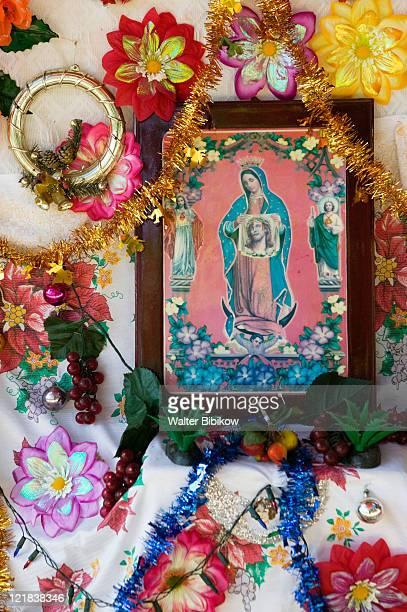 barra de potosi, detail of small virgin of guadalupe shrine, mexico - virgen de guadalupe fotografías e imágenes de stock