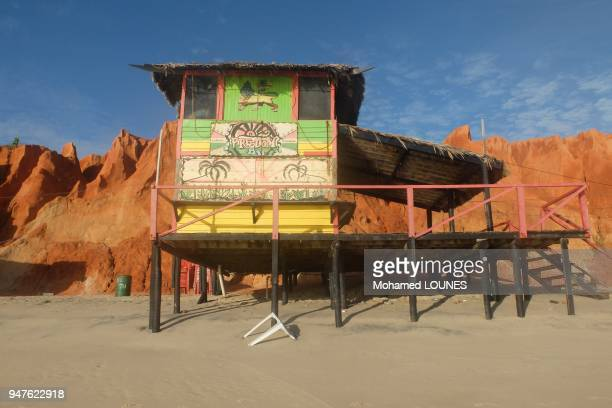 Barraca on famous tourist beach resort which symbol is the moon and star in May 2013 in Canoa Quebrada Brazil