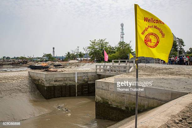 Barrage for the protection against flood which could flow to the residential areas from the harbour captured on April 12 2016 in Mongla Bangladesh