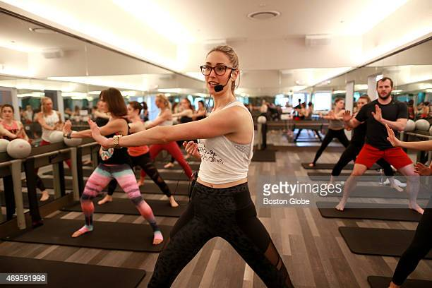 Barre class at Flywheel Gym at the Prudential Center