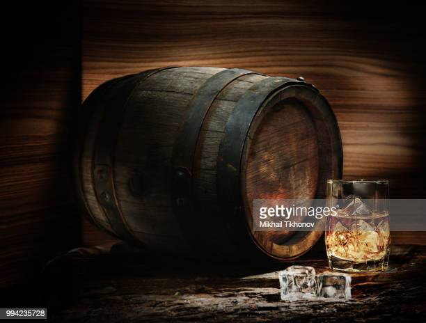 barrel and whiskey - whisky stock photos and pictures