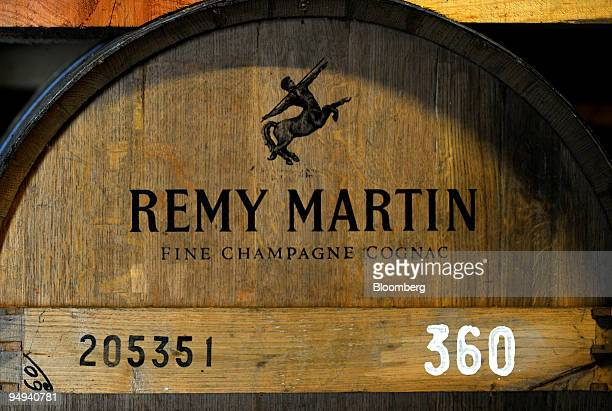 A barrel of Remy Martin cognac sits in storage at the company's distillery in Cognac France on Tuesday April 14 2009 Remy Cointreau SA France's...