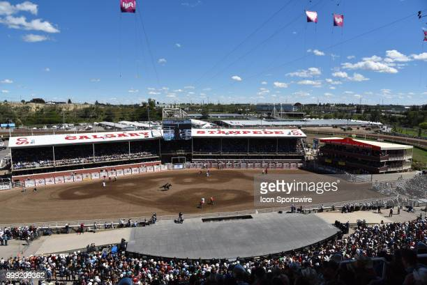 A barrel racer competes at the Calgary Stampede on July 14 2018 at Stampede Park in Calgary AB