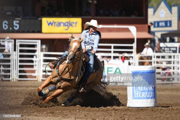 Barrel racer Hailey Kinsel of Cotulla TX won her event with this final ride at the Calgary Stampede on July 15 2018 at Stampede Park in Calgary AB