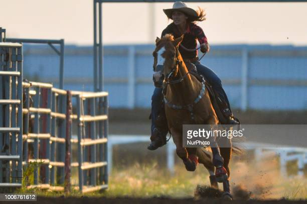 Barrel racer Kali Kott from Elk Point AB in action during the opening day of Bonnyville Pro Rodeo 2018 On Friday July 27 in Bonnyville Alberta Canada