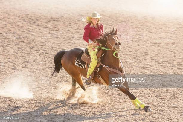 Barrel Racing Competition Cowgirl Speeding