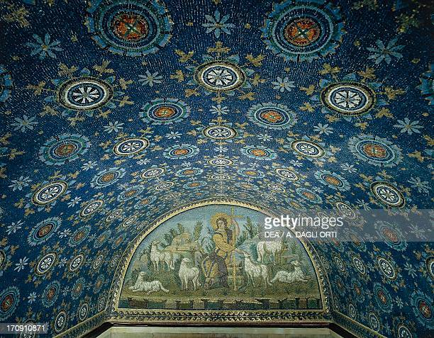 Barrel vault depicting a starry sky lunette depicting the Good Shepherd detail of the mosaics in the Mausoleum of Galla Placidia circa 450 AD Ravenna...