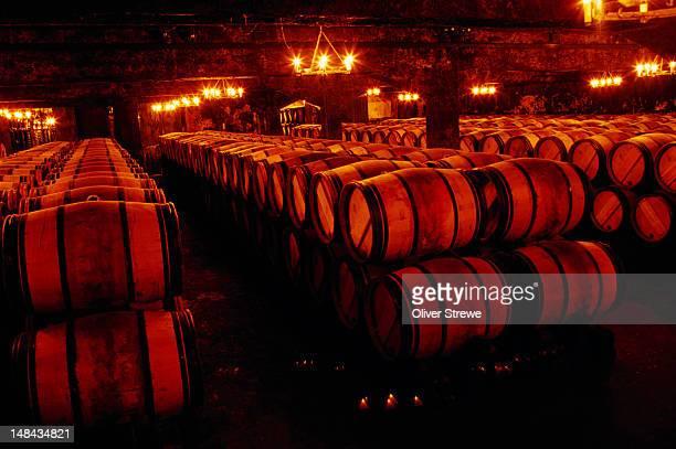 Barrels in cellar of Chateau Mouton Rothschild in Bordeaux region.