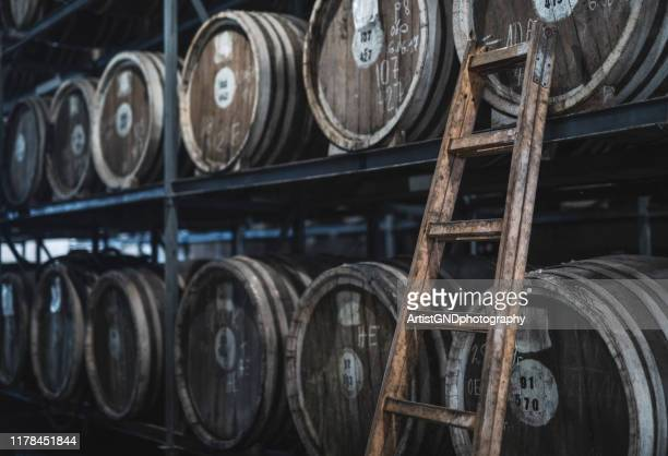 barrels in distillery - whiskey stock pictures, royalty-free photos & images