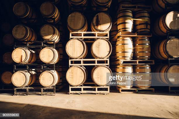 barrels in distillery - whisky stock photos and pictures