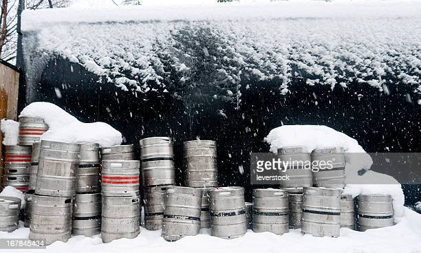 Barrels of alcohol in the snow