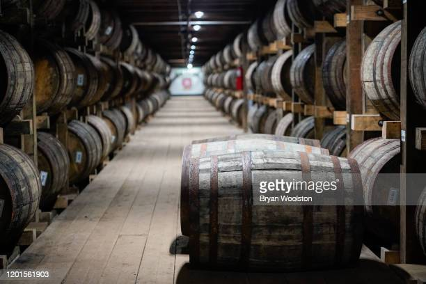 Barrels of bourbon are stacked in a barrel house at the Jim Beam Distillery on February 17, 2020 in Clermont, Kentucky. U.S. Whiskey exports have...