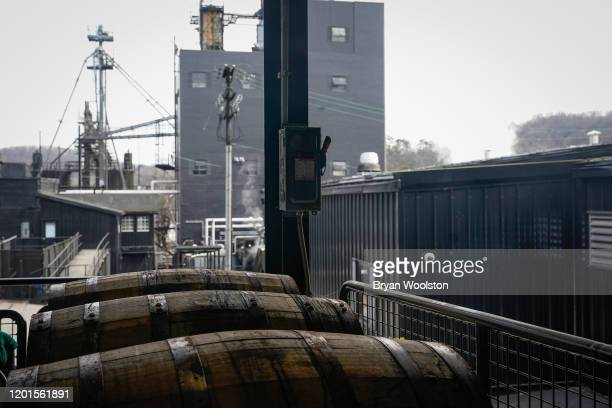 Barrels of bourbon wait to be emptied at the The Jim Beam Distillery on February 17, 2020 in Clermont, Kentucky. U.S. Whiskey exports have fallen by...