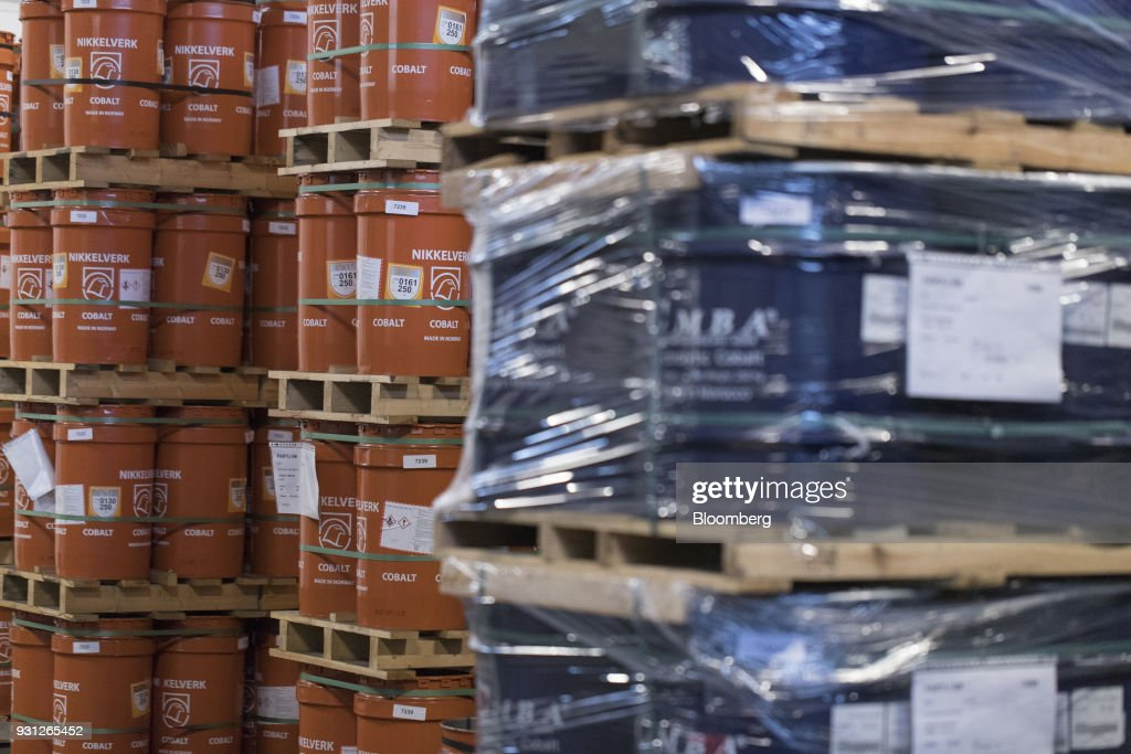 Barrels of cobalt cathodes, left, owned by Cobalt 27 Capital Corp., stand on pallets in Rotterdam, Netherlands, on Monday, Jan. 22, 2018. Cobalt 27 holds almost 3,000 metric tons of cobalt, the largest private stockpile on the planet. Photographer: Jasper Juinen/Bloomberg via Getty Images