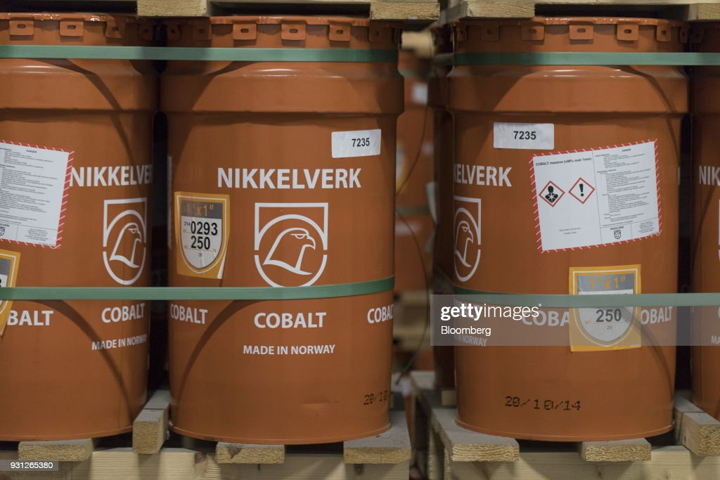 Barrels of cobalt cathodes, owned by Cobalt 27 Capital Corp., stand on pallets in Rotterdam, Netherlands, on Monday, Jan. 22, 2018. Cobalt 27 holds almost 3,000 metric tons of cobalt, the largest private stockpile on the planet. Photographer: Jasper Juinen/Bloomberg via Getty Images