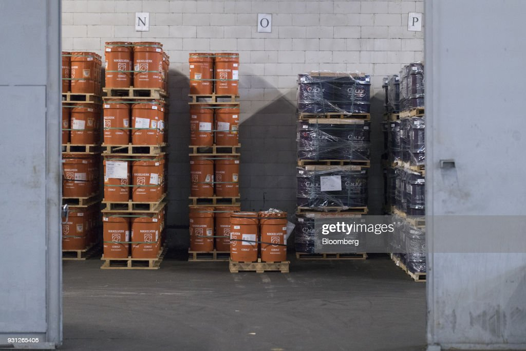 Barrels of cobalt stand, owned by Cobalt 27 Capital Corp., on pallets in Rotterdam, Netherlands, on Monday, Jan. 22, 2018. Cobalt 27 holds almost 3,000 metric tons of cobalt, the largest private stockpile on the planet. Photographer: Jasper Juinen/Bloomberg via Getty Images