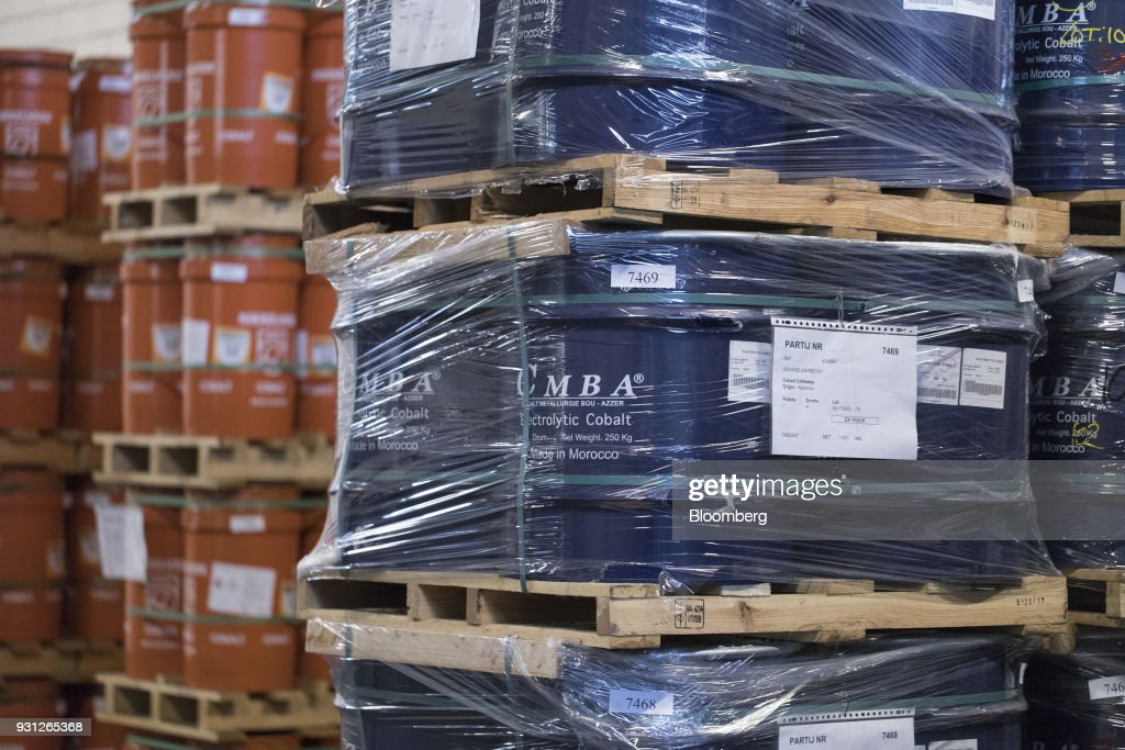 Barrels of electrolytic cobalt, right, owned by Cobalt 27 Capital Corp., stand on pallets in Rotterdam, Netherlands, on Monday, Jan. 22, 2018. Cobalt 27 holds almost 3,000 metric tons of cobalt, the largest private stockpile on the planet. Photographer: Jasper Juinen/Bloomberg via Getty Images