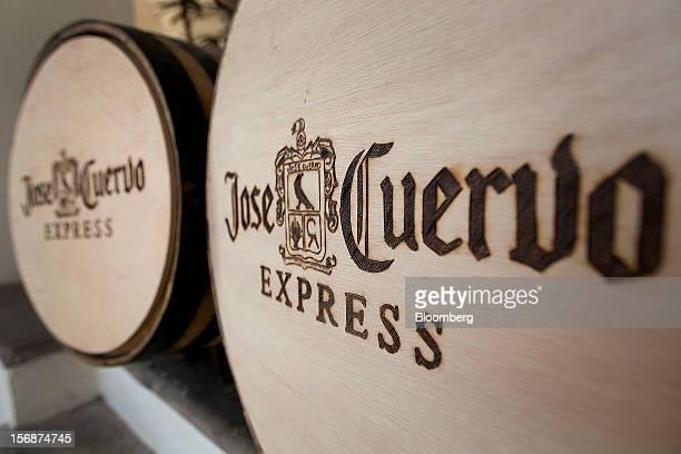 Barrels of Jose Cuervo tequila sit on display at the Tequila Cuervo La Rojena SA de CV distillery plant in Guadalajara Mexico on Thursday Nov 22 2012...
