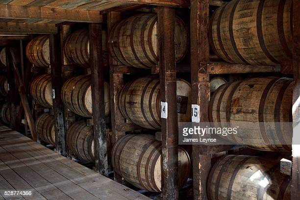 Barrels of maturing bourbon whisky at the Makers Mark Distillery in Loretto, Kentucky. | Location: Loretto, Kentucky, USA.