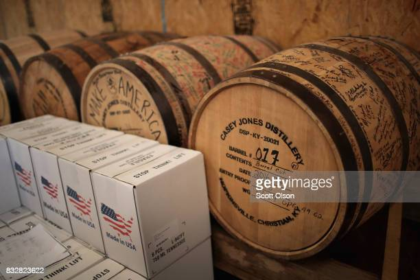 Barrels of moonshine age at Casey Jones Distillery on August 16, 2017 in Hopkinsville, Kentucky. To celebrate the upcoming total eclipse Casey Jones...