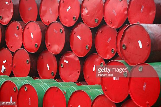 Barrels of motor oil.