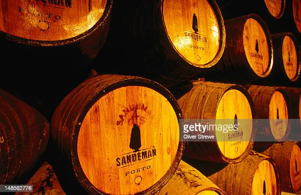 Barrels of port in the cellars of Sandeman Cellars. The winery was founded in 1790 and housed in a former 16th-century convent with a small museum.