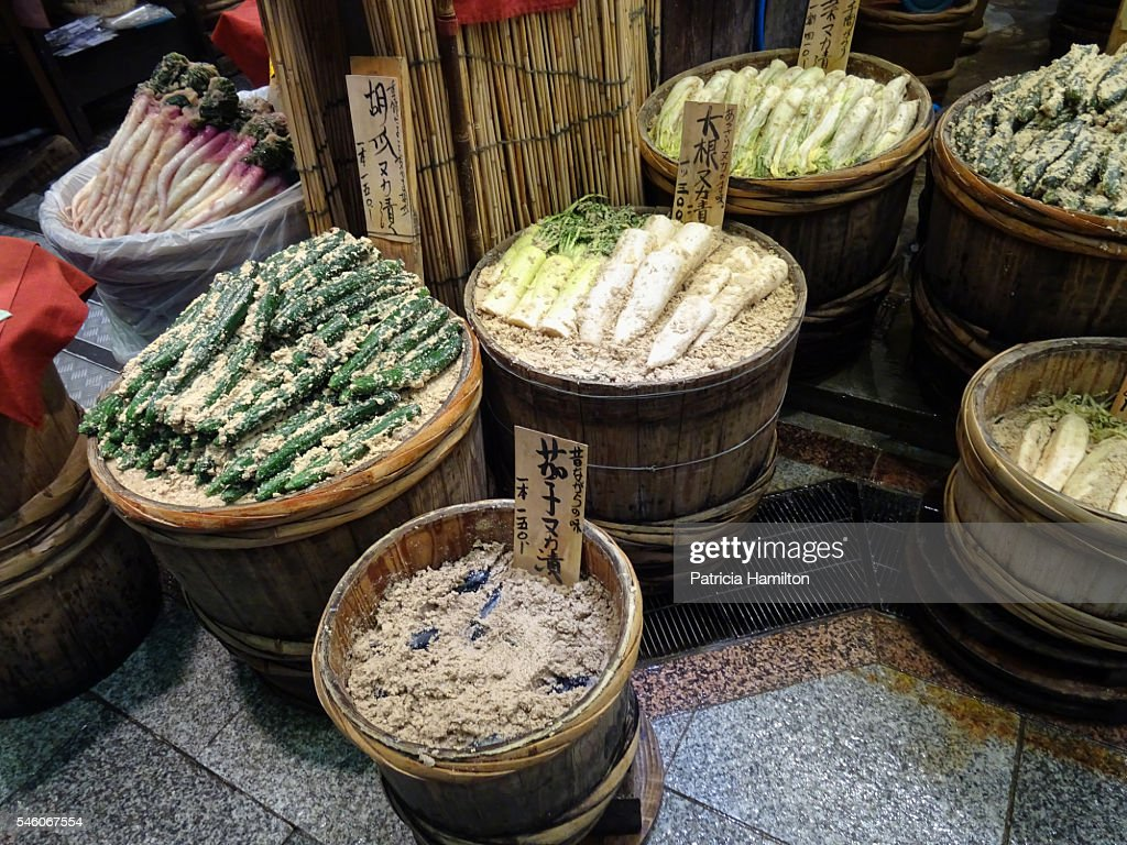Barrels of root vegetables being fermented. : Stock Photo