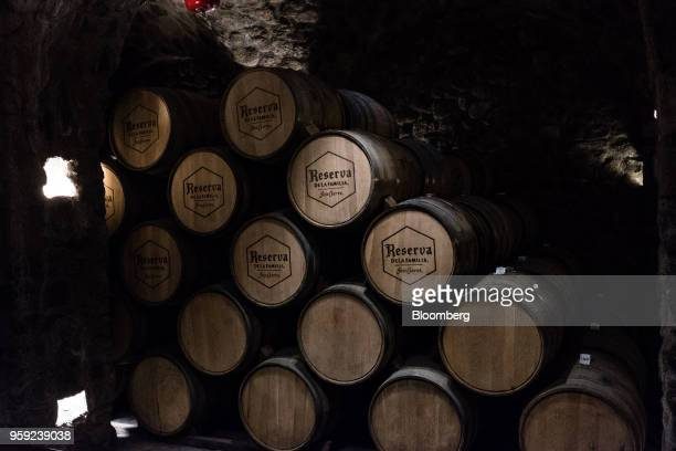 Barrels of tequila sit to age at the Becle SAB Jose Cuervo distillery in the town of Tequila Jalisco state Mexico on Thursday May 3 2018 Jose Cuervo...