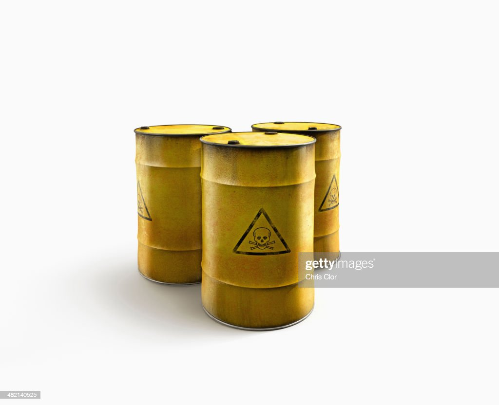 Barrels of toxic waste : Stock Photo