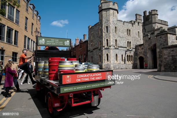 Barrels of Windsor Knot a beer to commemorate the upcoming Royal Wedding sit on the back of a cart ahead of the wedding of Prince Harry and his...