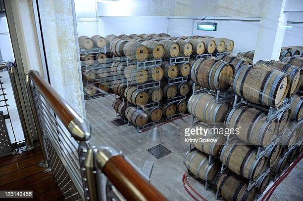 Barrels of wine are seen at the Nicolas Feuillatte champagne processing facility on August 31 2011 in Epernay France
