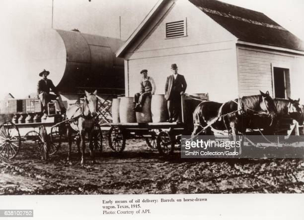 Barrels on horsedrawn wagons were the early means of oil delivery Texas 1915 Photo Courtesy of API/Department of Energy