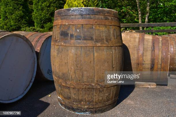 barrels, the famous grouse experience, glenturret whisky distillery, crieff, scotland, united kingdom - crieff stock pictures, royalty-free photos & images