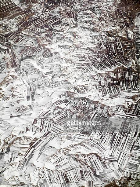 Barren snow covered fields in Mongolia