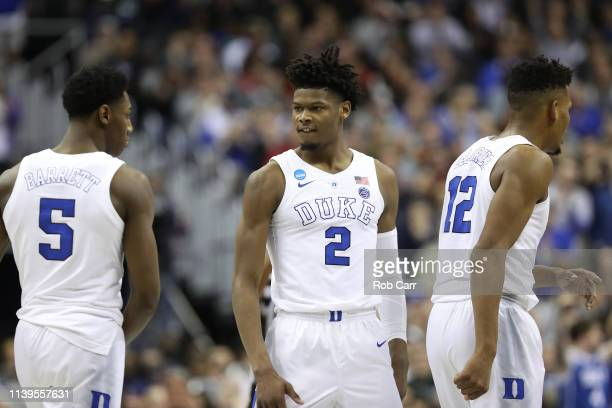 Barrett Cam Reddish and Javin DeLaurier of the Duke Blue Devils celebrate a basket against the Michigan State Spartans during the second half in the...