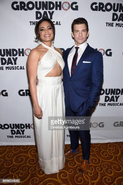 """Barrett Doss and Andy Karl attend the """"Groundhog Day"""" Broadway Opening Night at Gotham Hall on April 17, 2017 in New York City."""
