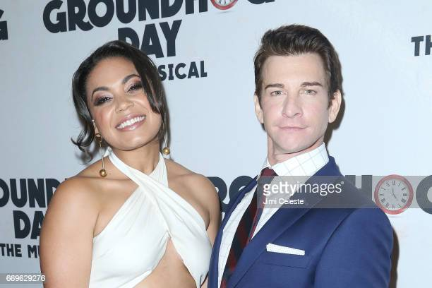 Barrett Doss and Andy Karl attend the 'Groundhog Day' Broadway opening night after party at Gotham Hall on April 17 2017 in New York City