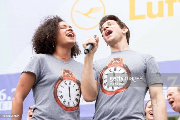 Barrett Doss and Andy Karl from Broadway's Groundhog Day perform during 1067 Lite FM's Broadway In Bryant Park 2017 at Bryant Park on July 6 2017 in...