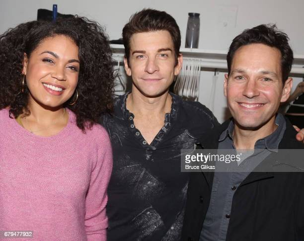 Barrett Doss who plays Rita Andy Karl who plays Phil and Paul Rudd pose backstage at the hit musical based on the film Groundhog Day on Broadway at...