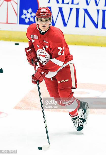 Barrett Hayton of the Sault Ste Marie Greyhounds skates in warmup prior to a game against the Mississauga Steelheads on November 25 2016 at Hershey...