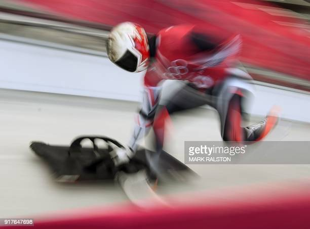 TOPSHOT Barrett Martineau of Canada a starts his men's skeleton training session at the Olympic Sliding Centre during the Pyeongchang 2018 Winter...