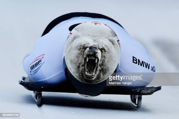 Barrett Martineau of Canada competes during the Men's Skeleton first run of the BMW IBSF World Cup at Olympiabobbahn Igls on February 3 2017 in...