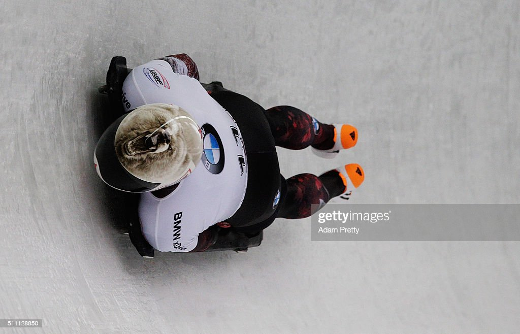 Barrett Martineau of Canada completes his first run of the Men's Skeleton during Day 4 of the IBSF World Championships 2016 at Olympiabobbahn Igls on February 18, 2016 in Innsbruck, Austria.