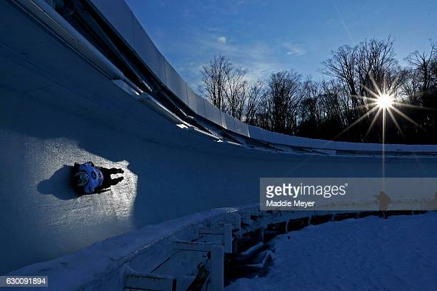 Barrett Martineau of Canada completes his second run during day 1 of the 2017 IBSF World Cup Bobsled & Skeleton at Lake Placid Olympic Center on...