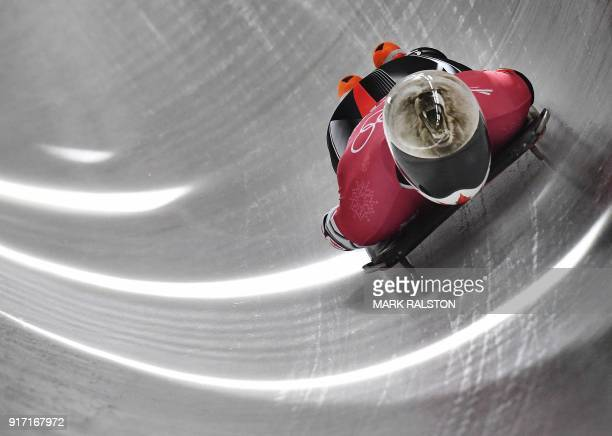 Barrett Martineau of Canada corners in his mens skeleton training session at the Olympic Sliding Centre during the Pyeongchang 2018 Winter Olympic...